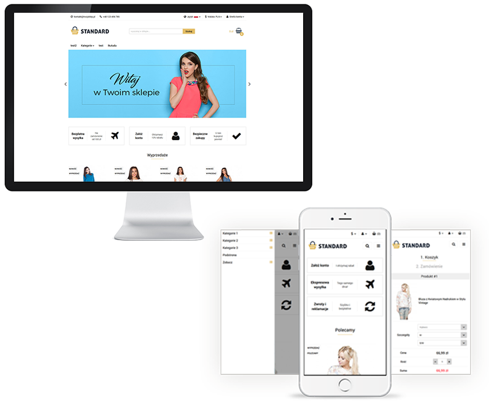Pre-designed online store template in RWD version